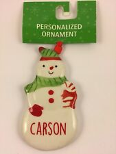 Ganz CARSON Personalized Snowman Name Christmas Ornament Ceramic Red White&Green