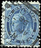 1897 Used Canada 5c F Scott #70 Queen Victoria Maple Leaf Stamp