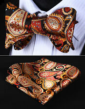 BP706ZS Brown Orange Paisley Bowtie Men Silk Self Bow Tie handkerchief set