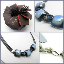 Handmade Fused Glass Necklace with Blue Shimmer Stones by Jan Art Jewelry.