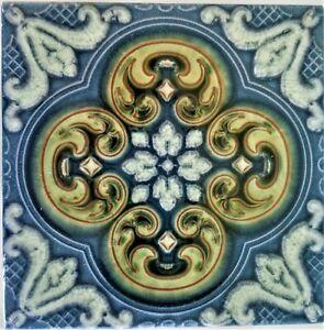 La Campanella  Sassualo Italy Tile Terra-Cotta Pottery Blue Floral Design Trivet