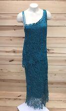Soulmates Silk Dress Medium Teal Lace Asymmetrical Long Sleeveless Beaded B52