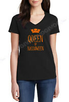 V-neck Queen Of Halloween T Shirt Funny Costume Humor Crown Tee T-shirt Ladies