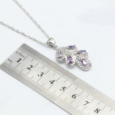 Amethyst 925 Silver overlay gemstone flower pendant necklace with chain