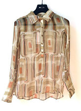 MANGO Damen NEU Seide Bluse Gr XS Geometrische Muster Sommer Shirt UVP €59,99