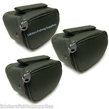 3 x New Deluxe Green Reel Cases Bags Carp Pike NGT Fishing Tackle