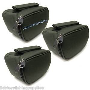 3 x New Deluxe Green Reel Cases Bags Carp Pike NGT Fishing Tackle Large (cm)