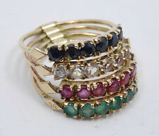 SOLID 14K GOLD SAPPHIRE RUBY EMERALD 4 BAND HAREM STACKING RING sz 7.25 / 5g