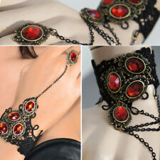 Red Jewel Black Lace Chain Slave Bracelet Fabric Victorian Steampunk Wrist Ring