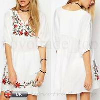 Fashion Womens Ladies Elegant Vintage Floral Loose Casual Boho Short Mini Dress