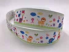 Diy 5 Yard 1'' 25Mm animal world Printed Grosgrain Ribbon Hair Bow Sewing Ribbon