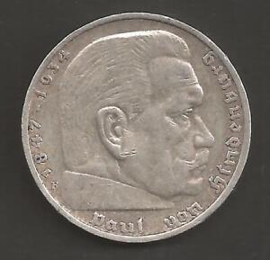5 Reichsmark Paul von Hindenburg 1936 A mit HK    -1601-