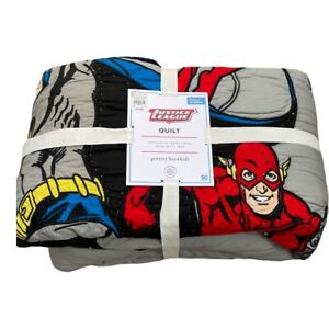 New Pottery Barn Kids Justice League Super Hero's Full/ Queen Cotton Quilt