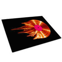 Orange Record Black Glass Chopping Board Kitchen Worktop Saver