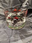 """Vintage Glass Bowl Ice Bucket ~ Horse & Rider with Hounds ~ 4.25"""" High 5.25"""" Dia"""