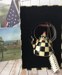 MacKenzie-Childs Retired Courtly Check NWT Tea pot Kettle Ornament Original Box