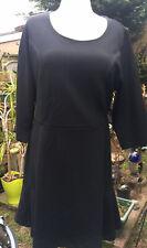 Isaac Mizrahi Live Pebble Knit Tulip Hem Dress  3/4  Sleeve Black 2XL 22 24 Bnwt