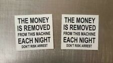 "(2) Vending Pepsi Coke Drink Snack Machine ""Money Removed Nightly"" Decal Sticker"