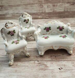 Vintage Porcelain Ceramic Miniature Dollhouse Furniture Floral Japan