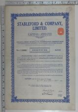 1923 Antique Share Certificat Stableford & Compagnie Limitée