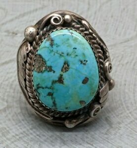 Lovely Rare Vintage Navajo Native American Sterling Silver Turquoise Ring B53