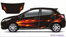A Set red flame warm Sports Styling Vinyl Car Body Stickers Waist Line Decals