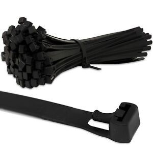 BLACK RELEASABLE REUSABLE STRONG CABLE ZIP TIES WRAPS *~ANY SIZE & QUANTITY*~