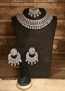 UK Bollywood Silver Necklace Set With big Earrings & Tikka. Weddings Parties