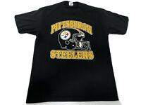 Vintage 80S PITTSBURGH STEELERS T-SHIRT NFL FOOTBALL Helmet Graphic Size Large