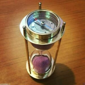 Marine Antique Nautical Spyglass Sand Timer Both Side Compass Halloween Gift