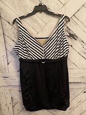 AVENUE Black & White Stripes  1 Piece Swimsuit Skirt Built In Bra -Size 28W