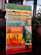 """VW Kombi PSALM """"Life is an Adventure"""" Wooden Beach Plaque / Sign"""