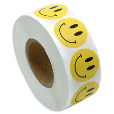 "Yellow Smiley Face Happy Stickers 1"" Inch Round Circle Teacher Labels 1000 Total"