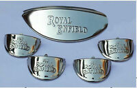 ROYAL ENFIELD HEADLIGHT-INDICATOR STAINLESS STEEL PEAK SET. EMBOSSED. NEW