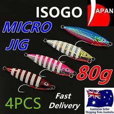 4x 80g ISOGO Japan Micro Slow Jig Jigging with Assist Hook Lumo Kingfish Snapper