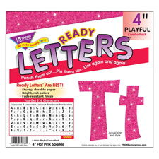 Hot Pink Sparkle 4-Inch Display Letters Classroom Decoration - 181 Characters