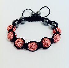 Shamballa bracelet 7 Pink swarovski crystal beads &6 Hematite bobin boutique