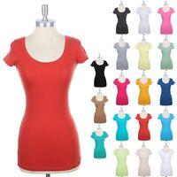 Cotton U Neck T Shirt Short Sleeve Solid Plain Easy Wear Casual Spandex S M L
