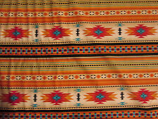Navajo Indian Gold Teal Border Print Cotton Fabric BTHY
