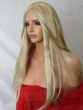 Peluca rubio ceniza naturales largas toda cabeza liso de Moda para Damas Completo Pelucas De Cabello O22