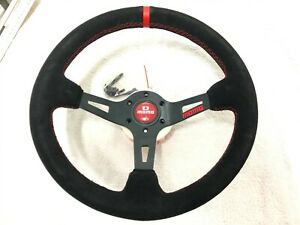 New Design 350mm Red Logo Full Speed Deep Dish Suede Leather Steering Wheel