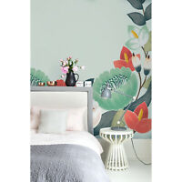 Floral spring flowers Non-woven wallpaper green and red Home wall mural