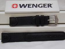 Wenger Watch Band Ladies 14mm Black Leather/Nylon Mesh. Classic Field Watchband