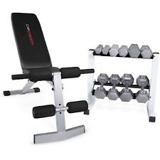 CAP Barbell Adjustable Bench + 150 lb Hex Dumbbell Weights Rack Exercise Set