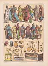 Hebräer Priester Trachten Musikinstrumente LITHOGRAPHIE von 1883 Menora