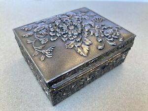 Antique Edwardian Orient Inspired solid metal Jewellery box circa 1910