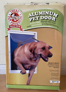 Extra Large Dog Door Frame Aluminum Pet Cat Door W/ Telescoping White Frame Pets