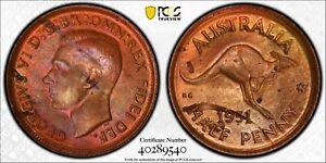 Australia 1951 p 1/2 Half Penny Kangaroo animal PCGS MS63RB With Dot PC1042 comb