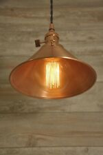 Brushed Copper Spun Cone Shade Industrial Pendant Light Fixture Rustic Vintage