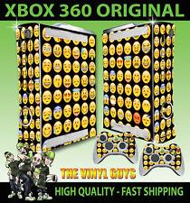 XBOX 360 EMOJI FACES BLACK BG ICONS MOODS SMILEYS STICKER SKIN & 2 PAD SKINS